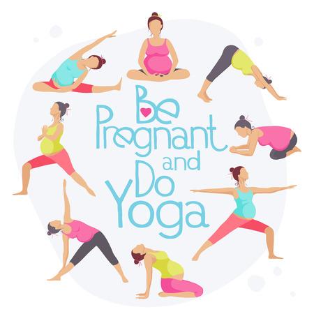 prenatal: Set of Yoga poses for Pregnant women. Prenatal exercise. Vector illustration. Illustration