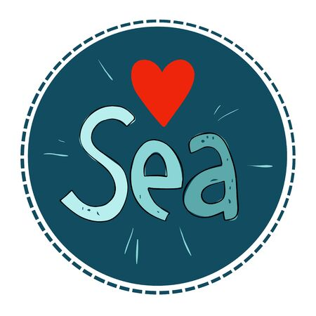 Love Sea. Vector illustration in a circle shape on a dark background.