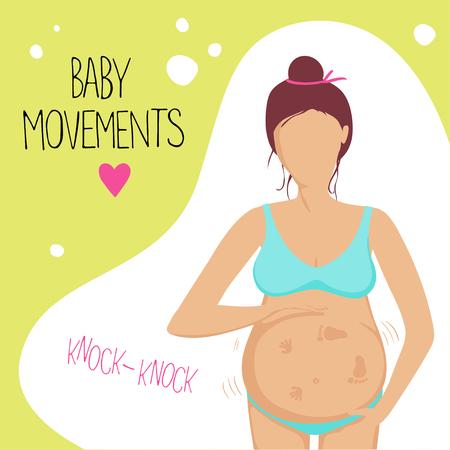 patada: La mujer embarazada en el segundo trimestre. Ella siente que el bebé se mueve dentro. Ilustración del vector. Vectores