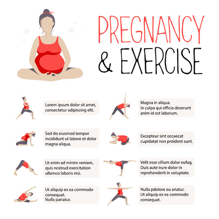 pregnancy yoga: Template of Banner for advertising pregnant yoga. Poster about fitness during pregnancy. Women doing exercise. Variants of poses. Vector illustration.
