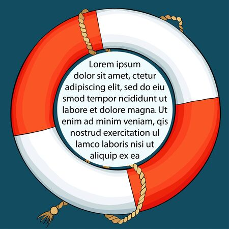 Lifebuoy on dark background. Card with space for your text. Vector illustration