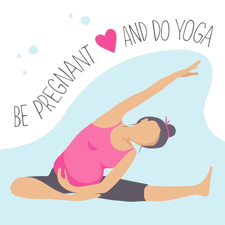 Prenatal Yoga. Pregnant woman doing exercise. Vector illustration Imagens - 63620078