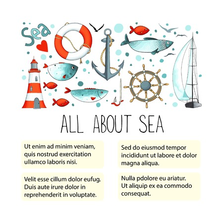 Template for ads or article with collection of nautical elements. There are lighthouse, seagull, sailboat, life buoy, fish, anchor and wheel. Иллюстрация