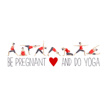 pregnancy exercise: Banner or headline for advertising pregnant yoga. Women doing exercise. Variants of poses.