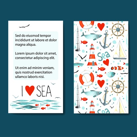 Set of 2 lovely cards templates with sea background.