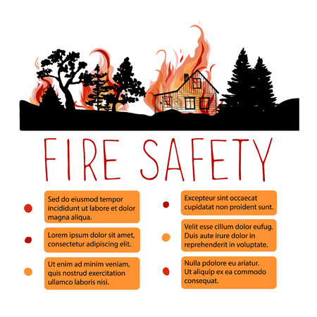 forewarning: Template of safety from wildfire placard. Headline with silhouettes of trees and wooden house on a background of fire. Illustration
