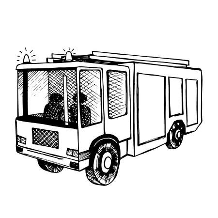 forewarning: Hand drawn fire truck isolated on white. Black outline,
