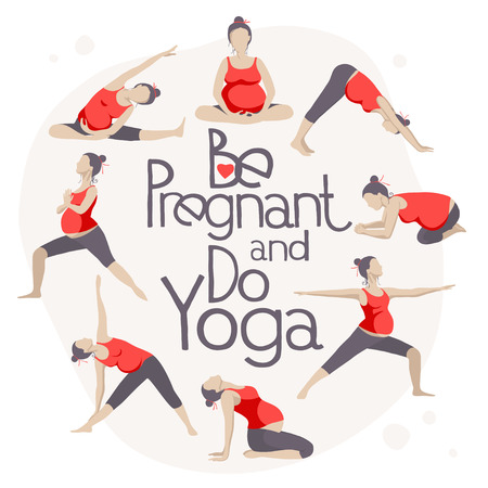 for women: Set of Yoga poses for Pregnant women. Prenatal exercise. Illustration