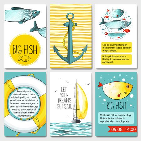 Set of 6 lovely cards templates with sea background. There is a place for your text. Иллюстрация
