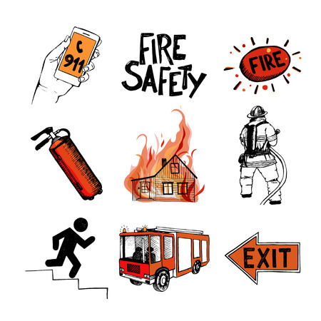 fire extinguisher symbol: Fire safety and means of salvation.