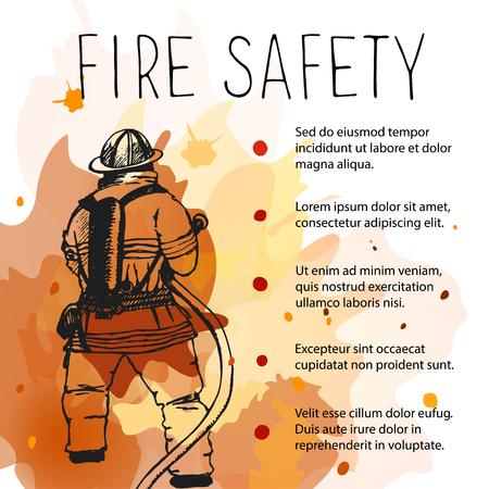 Sjabloon van brandveiligheid bordje. Silhouet van brandweerman op een achtergrond van de brand.