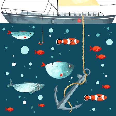 Grappige vissen, anker en een deel van het schip in turkooise en rode kleuren. Onderwater leven.