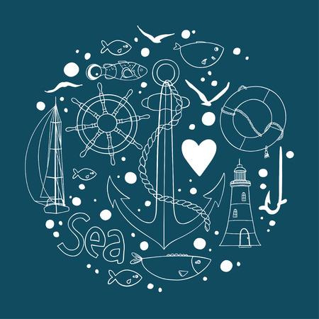 Collection d'éléments nautiques dans une forme de cercle. Il y a phare, mouette, voilier, bouée de vie, poissons, ancre et roue. Contour dessin sur un fond sombre. Banque d'images - 63769765