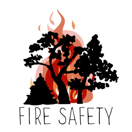 forewarning: No wildfire icon. Silhouettes of trees on a background of fire.