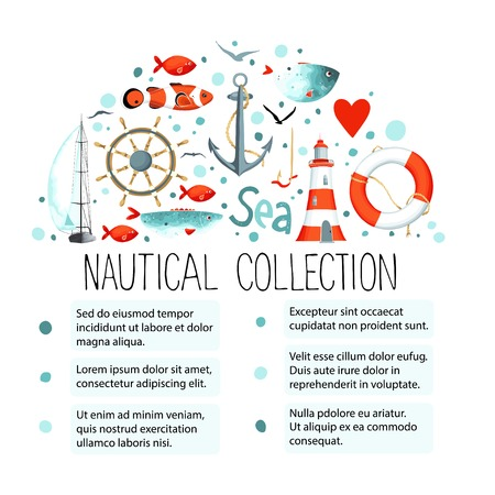 Collection of nautical elements in a semicircle shape. Template for text. There are lighthouse, seagull, sailboat, life buoy, fish, anchor and wheel.