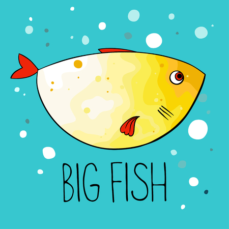 illustration of yellow fish with red fins and tail on turquoise background. Cartoon style.