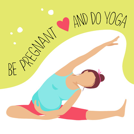 Prenatal Yoga. Pregnant woman doing exercise. Иллюстрация