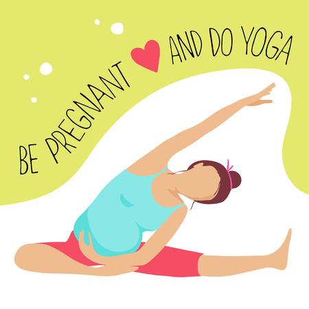 prenatal: Prenatal Yoga. Pregnant woman doing exercise. Illustration