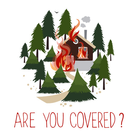 Wild fire in a forest. Burning house. Icon for advertising insurance. Иллюстрация