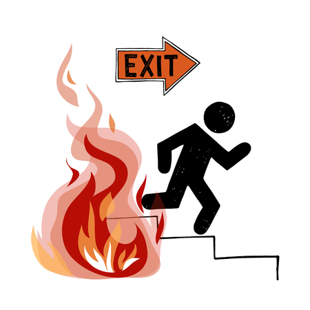 Fire evacuation sign. Pictograph of man and realistic flame.
