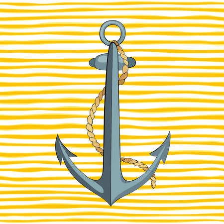 Anchor and rope on striped yellow background.