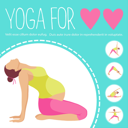 Yoga for two. Pregnant women doing exercise. Variants of poses.