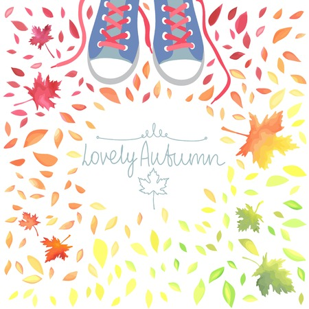 Autumn illustration with motley leaves and boots. Watercolor imitation