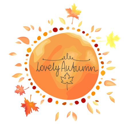 Autumn orange background for text. Round shape spot with leaves around isolated on white background. Иллюстрация