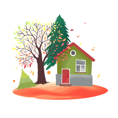 trees seasonal: Autumn countryside. Illustration with rustic house, seasonal trees, fall leaves.