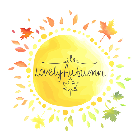Autumn background for text. Round shape yellow spot with colorful leaves around isolated on white background. Иллюстрация