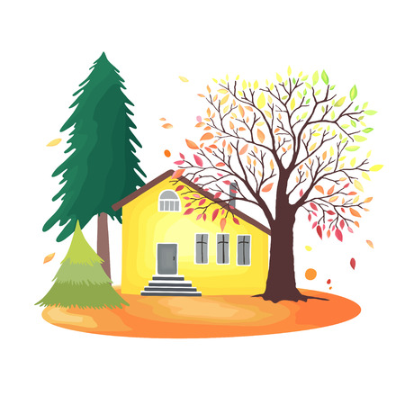 Autumn countryside. Illustration with rustic house, seasonal trees, fall leaves.