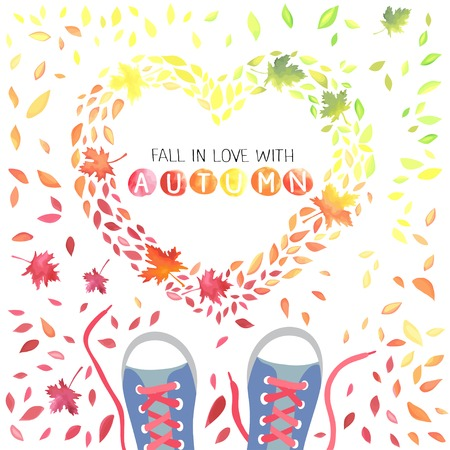Fall in love with Autumn. Illustration of motley leaves and boots. Leaves is in a heart shape.