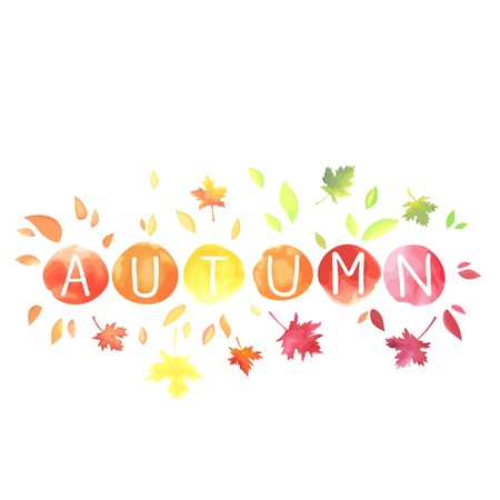 Autumn. Lettering with motley leaves isolated on white background. Иллюстрация