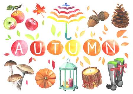 Set of watercolor cute autumn elements: candles, pumpkins, basket of apples,  pine cones, acorns. Imagens