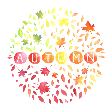Autumn illustration with motley leaves in a circle shape. Иллюстрация