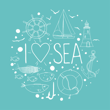 Collection of nautical elements in a circle shape. There are lighthouse, seagull,sailboat, life buoy, fish, anchor and wheel. Contour drawing on a turquoise background.