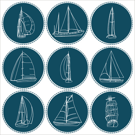 sailboats: Set of 9 boats with sails. Each one in a circle shape on a dark background.. Sport yacht, sailboat. Contour drawing