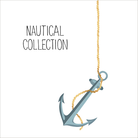Anchor and rope isolated on a white background.