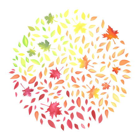 Autumn illustration with motley leaves in a circle shape. Ilustração