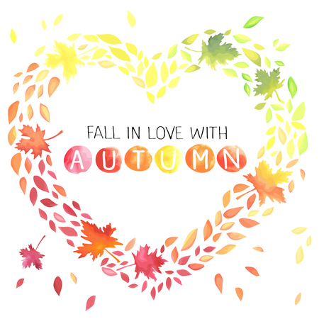 Autumn illustration with motley leaves in a heart shape.
