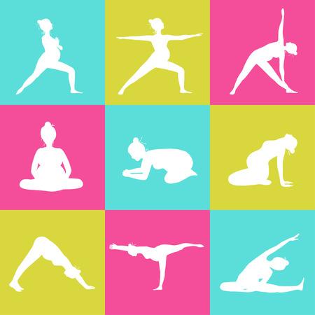 prenatal: Set of 9 Yoga poses for Pregnant women. Prenatal exercise.