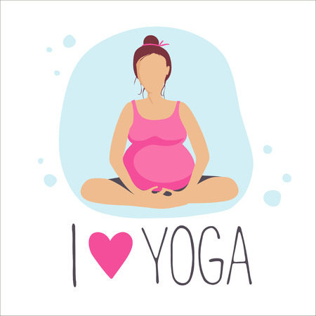 positions: Pregnant woman doing exercise. Yoga positions in butterfly or lotus Pose.
