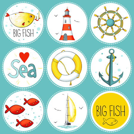 sea set of 9 nautical elements. Each one in a circle shape on a dark background. There are lighthouse, seagulls, sail boat, life buoy, fish, wheel and anchor. Imitation of watercolor. Ilustração
