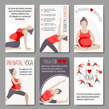 Conjunto de banners de publicidad de yoga embarazada. Mujeres que hacen ejercicio. Las variantes de poses. Foto de archivo - 63770350
