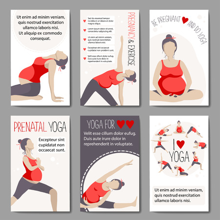 variants: Set of banners for advertising pregnant yoga. Women doing exercise. Variants of poses.