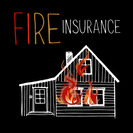 house on fire: The burning house, fire out of the windows. Hand drawn style. Illustration