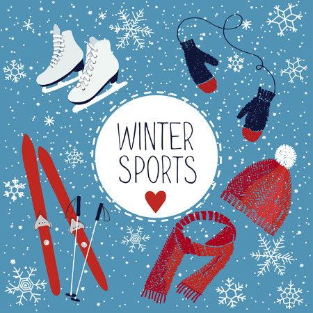 illustration about winter sports and activities Иллюстрация