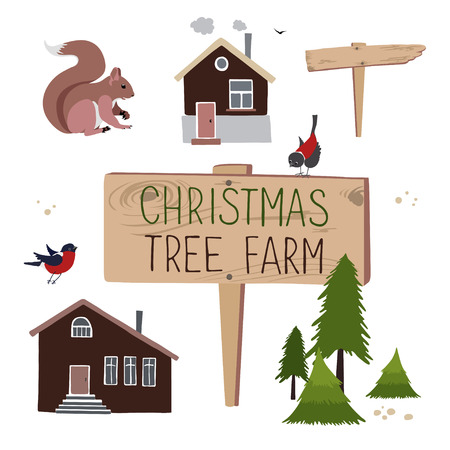 set for creation illustrations about Christmas tree farm. Christmas Trees for sale Фото со стока - 63770356