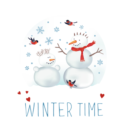 xmax: illustration about winter time. Snowmen, bullfinches and snowflakes