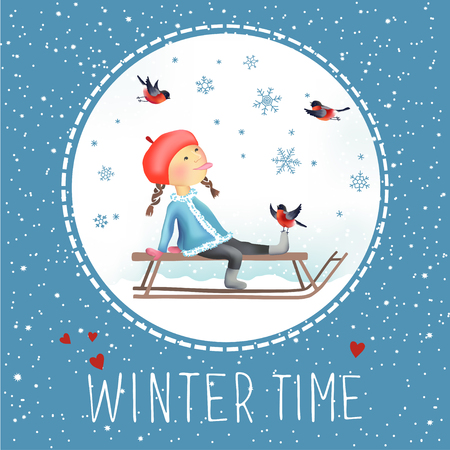 Cheerful winter illustration of Little girl on the sled. Snowflakes and bullfinches around. Let It Snow